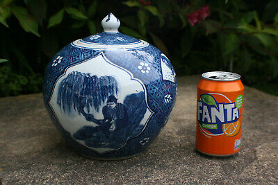 Large Chinese Porcelain Blue & White Had Painted Jar Pot with Lid