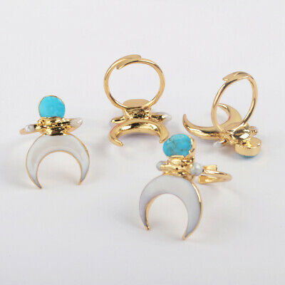 Adjustable Crescent White Shell Natural Turquoise Pearl Ring Gold Plated HG1862