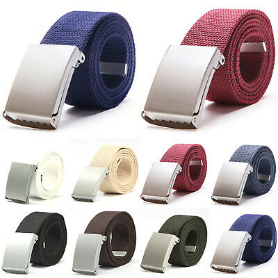 Mens Womens Unisex Cotton Canvas Fabric Webbing Silver Buckle Belt Army Casual