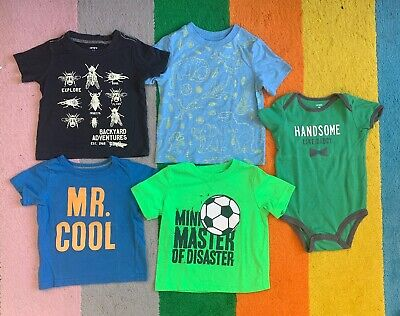 Set Of 5 Carter's T Shirts Baby Size 18 Months Cool Designs