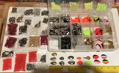 Lure Making Lot Walleye 800+ Spinner Blades 3500+ Beads Clevis Swivels Red Hooks