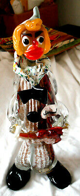 Vintage 1960's MURANO/JICO HAND MADE/BLOWN GLASS CLOWN WITH VIOLIN-Made in Italy