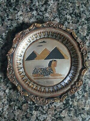 Ancient Egyptian Vintage brass wall art with Pyramid and King Tut gold, black