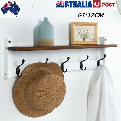 5 Coat Hooks Rack with Shelf, Handcrafted from Chunkys Premium Quality Pine HOT