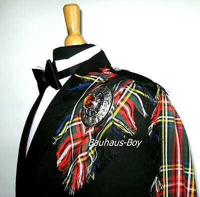 Fly Plaid Tartan Black Stewart Fringed Kilt Made In Scotland Menswear Scottish