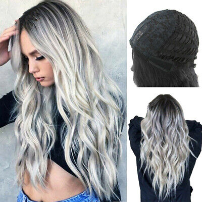 Women's Wig Grey Long Curly Wavy Heat Resistant Hair Extension High Quality