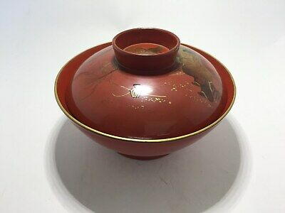 Japanese antique lacquer Ware Bowl Wooden with MAKIE pine tree  pattern