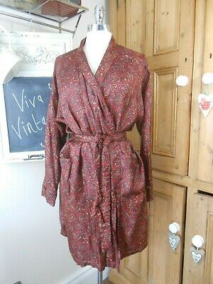 Vintage Men's Red & Gold Paisley Retro Silky Satin House Coat Dressing Gown M/L
