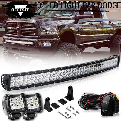 "Offroad Lighting 42"" Curved LED Light Bar Lower Bumper +Wiring For Dodge RAM"