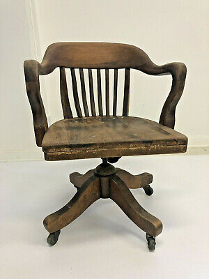 Vintage WOOD BANKER CHAIR antique office industrial swivel arm rustic desk loft