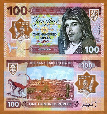 Zanzibar Tanzania 100 Rupees 2018 Private Clear Window Polymer > Freddie Mercury