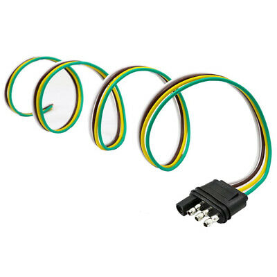 ~ 2 Trailer Light Wiring Harness Extension 4-Pin Plug Flat Wire Socket Adapter