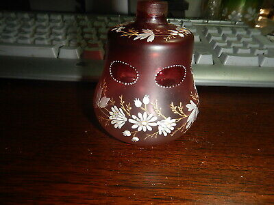 Enameled cranberry color perfume bottle for atomizer top Bohemian old