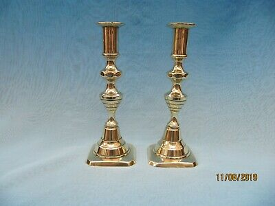 "Antique ~ Smaller Pair of Traditional BRASS Candlesticks ~ 7"" high"
