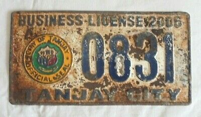 Rare - Tanjay City - Business License Plate - 2006 - Pilipinas - Philippines