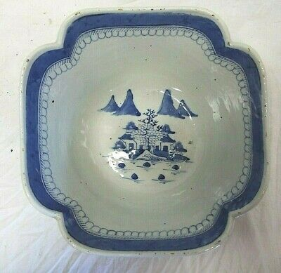 Antique Cantonese Chinese Export Scallop-Shaped Bowl Blue White Design