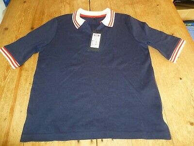 """NEW!! Fabulous ONLY """"Laurie"""" Navy Blue White Collar Polo SHIRT T SHIRT, Small"""