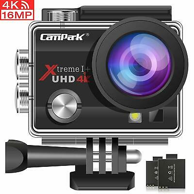Campark ACT74 Camara Deportiva 4K 16MP WiFi 30M Impermeable con 2 Bater  (BLACK)