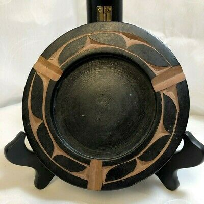 """St. Maarten, N.A. Wooden Souvenier Ashtray 5 5/8"""" W Black Hand Carved"""