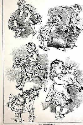 Victorian Girl LILI'S CHRISTMAS TOYS Doll Rocking Horse 1884 Antique Art Matted