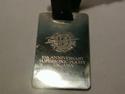 Sterling CONCORDE BRITISH AIRWAYS - 10th Anniversary STERLING SILVER Luggage Tag