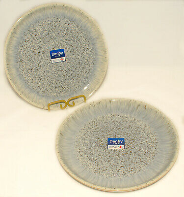 """DENBY - Blue Gray Cream HALO - Speckled Coupe DINNER PLATES 10"""" *Set of 2 *NEW"""