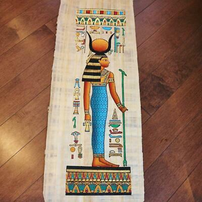 """Huge Signed Handmade Papyrus Egyptian Queen_HATHOR_Goddess of Love_32x12"""" Inches"""
