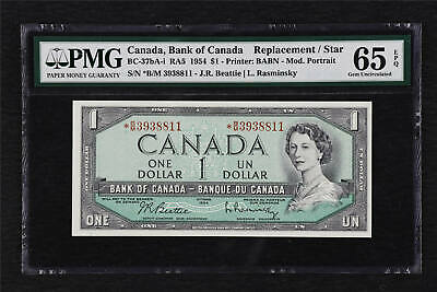 1954 Canada Bank of Canada BC-37bA-i 1 Dollars PMG 65 EPQ UNC Replacement