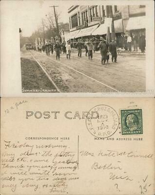 1910 RPPC Madison,WI Parade Past University Co-Op Bookstore State Street Vintage