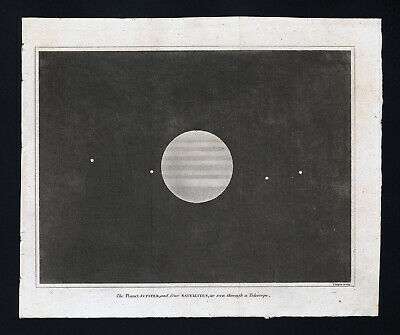 1809 Astronomy Print Jupiter & Satellites or Moons Solar System Planet Telescope