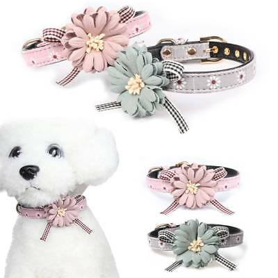 Adjustable Necklace Flower Bow Tie Dog Cat Leather Collars Puppy Kitten Pet