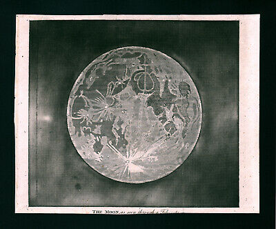 1809 Astronomy Print of the Full Moon through a Telescope Lunar Craters Antique