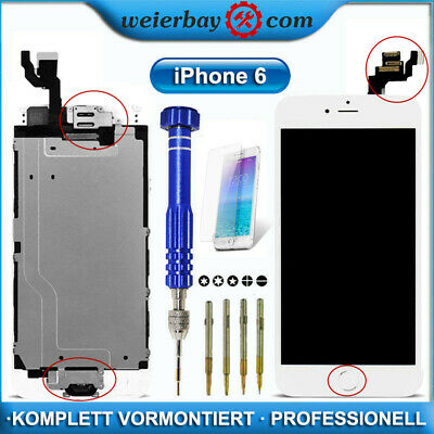 LCD Display für iPhone 6 WEISS VORMONTIERT RETINA KOMPLETT Frontglas+Home Button