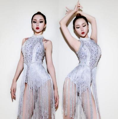 Womens Trendy Sexy Sequins Tassel Nightclub Bar Silver Catsuit DS Party Bodysuit