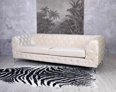 Chesterfield Samt Sofa Champagne Couch Polstersofa Polstercouch Glamour 3-Sitzer