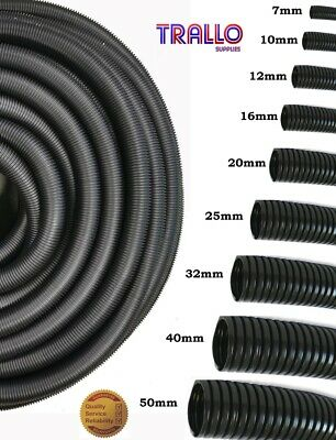Premium Solid Black Flexible Conduit Kopex Cable Tidy Trunking - Various lengths
