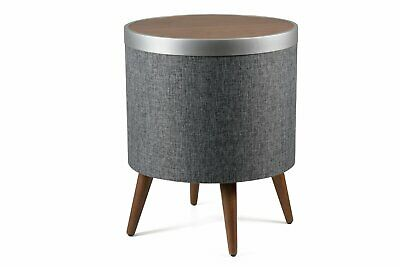 KOBLE Zain Coffee Table - Walnut Veneer & Grey Fabric