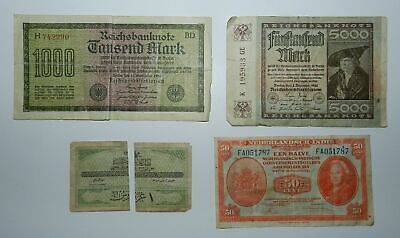 4 OLD BANKNOTES - GERMANY 1920's , NETHERLANDS INDIES 1943 & TURKEY 1916