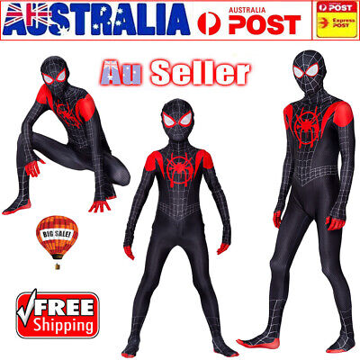 NEW Spiderman Into the Spider-Verse Kids Costume Miles Morales Cosplay Jumpsuit