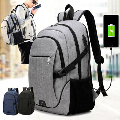 Anti-Theft Mens USB Charging Shoulder Backpack Laptop Notebook Travel School Bag