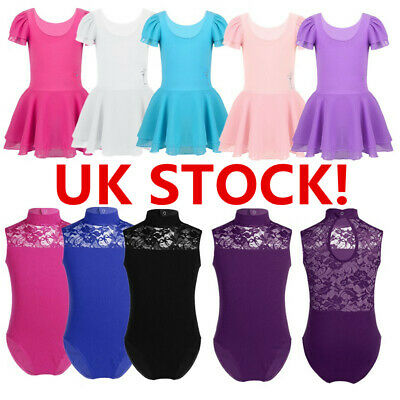 UK Girls Ballet Dance Dress Gymnastics Tutu Dress Turtle Neck Leotards Costume