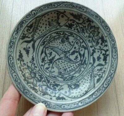 ANTIQUE  THAI SUKHOTHAI  CELADON  SI SATCHANALAI FISH  CHARGER BOWL  Plate