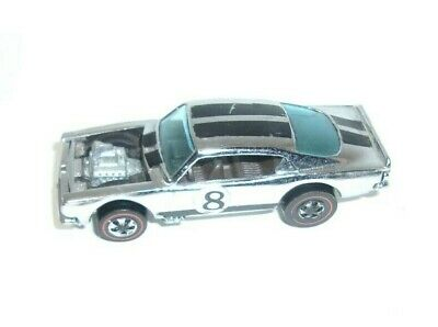 Vintage 1969 Hot Wheels Chrome King Kuda Redline With #8 Door Decals   T*