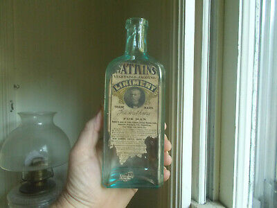 Watkin's Vegetable Anodyne Liniment With Opium Emb With Labels 1906 Blown Bottle