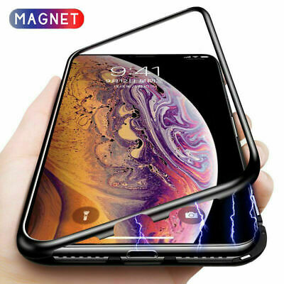 Metal Magnetic Adsorption Case For iPhone 8 7 XS XR Luxury Tempered Glass Cover