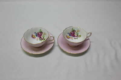 2 Vtg Paragon Bone China Pink / Gold Trim / White Floral Cup & Saucer B549