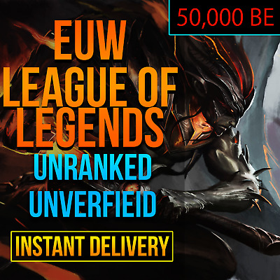 League Of Legends Account LOL Euw Smurf 42,000 - 50,000 BE IP Unranked Level 30