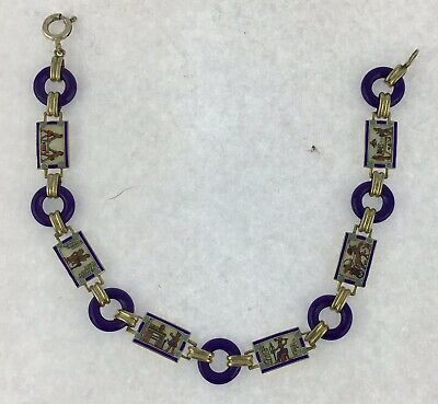 Early 20th C Egyptian Silver Gilt & Enamel Pictorial Painted Panel Bracelet