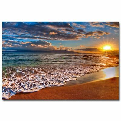 Tropical Beach Ocean Sea Waves Art Silk Poster Skyline Landscape Wall Pictures