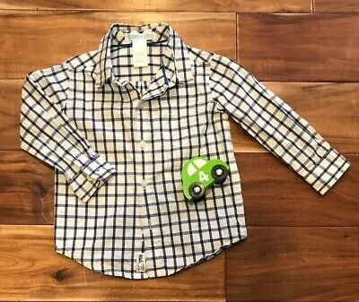 Janie And Jack Boys Size 12 To 18 Months Plaid Windowpane Dress Shirt Navy EUC!